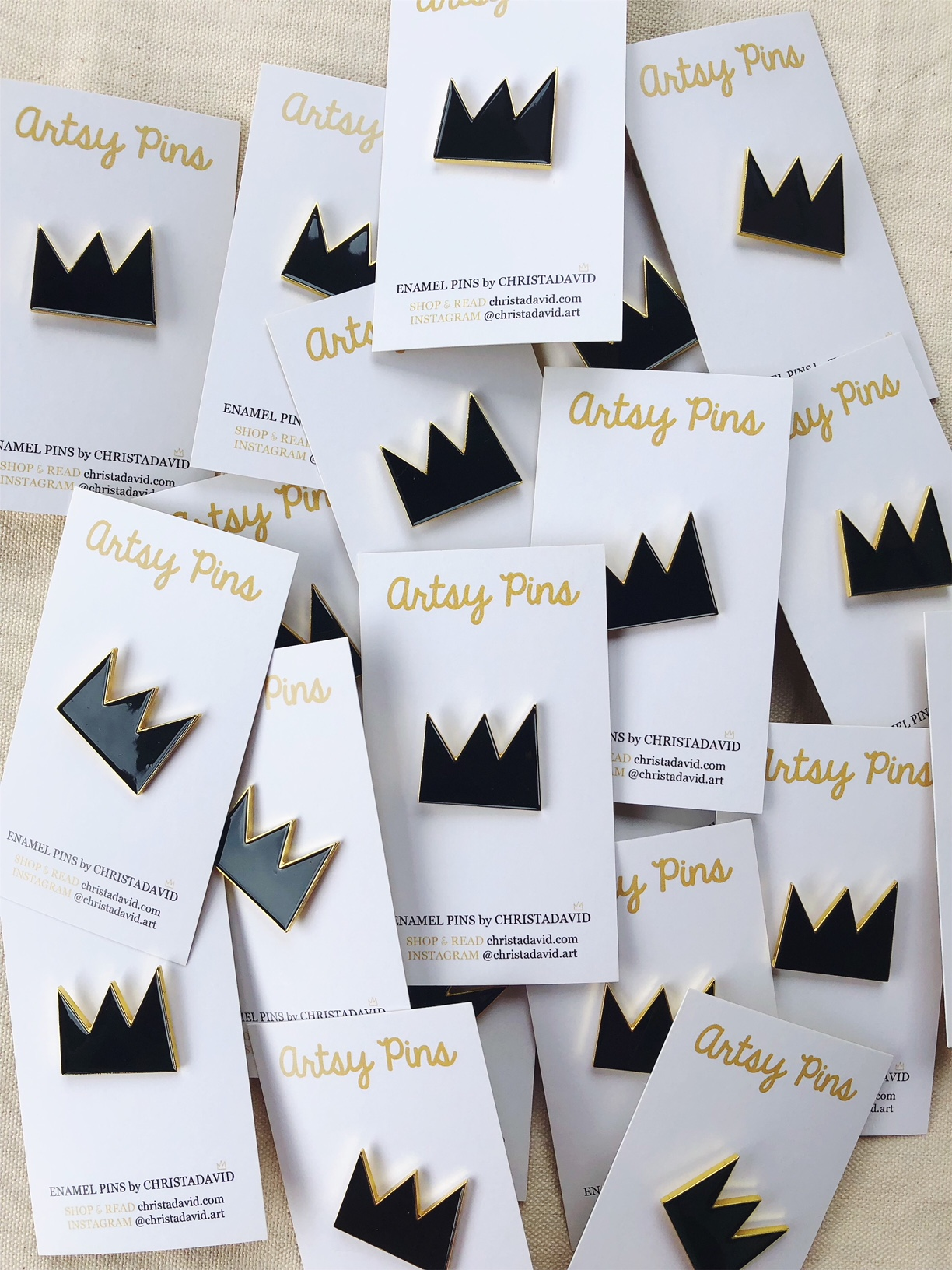 Black and Gold CROWN Enamel Pin (NEW) — Christa David