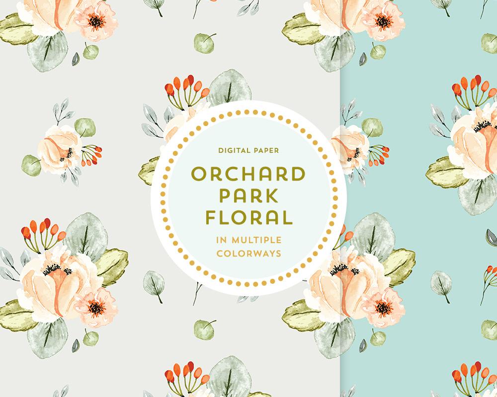 Orchard Park Floral Digital Papers Denise Anne
