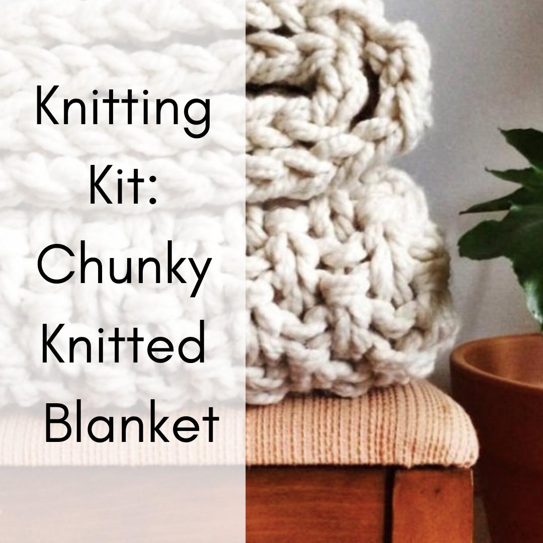 Chunky Knit Blanket Knitting Kit Knitting Kit Beginner Diy