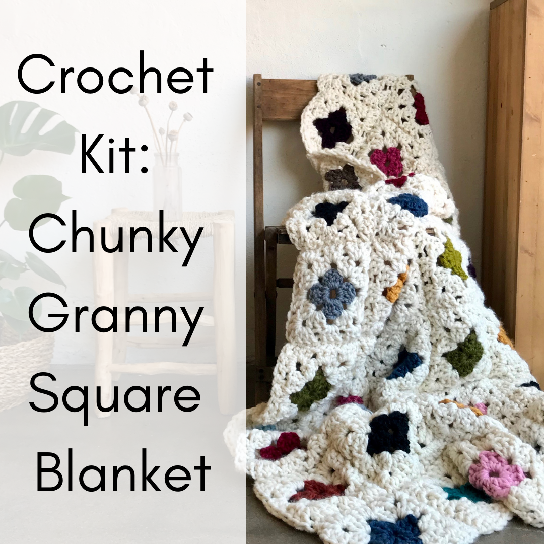 Crochet Kit Granny Square Chunky Blanket Crochet Blanket Crochet