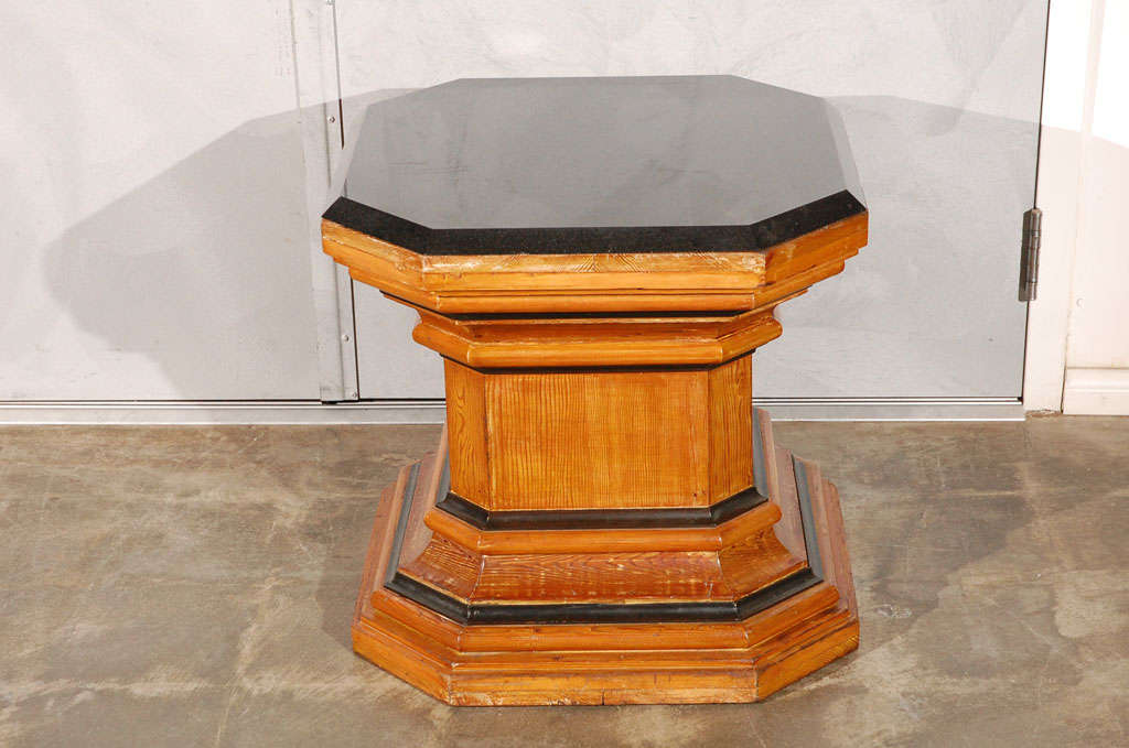 Pair Octagonal Pedestal Coffee Tables With Marble Tops Jefferson