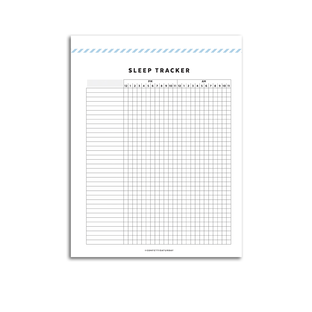 picture about Sleep Tracker Printable called Slumber Tracker // Signature Collection Confetti Saay