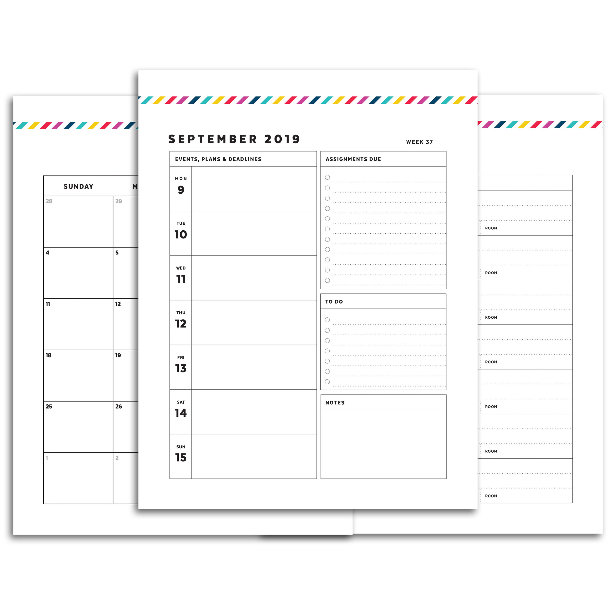 Printable Weekly Planner 2020.2019 2020 Student Planner Signature Stripe Confetti Saturday