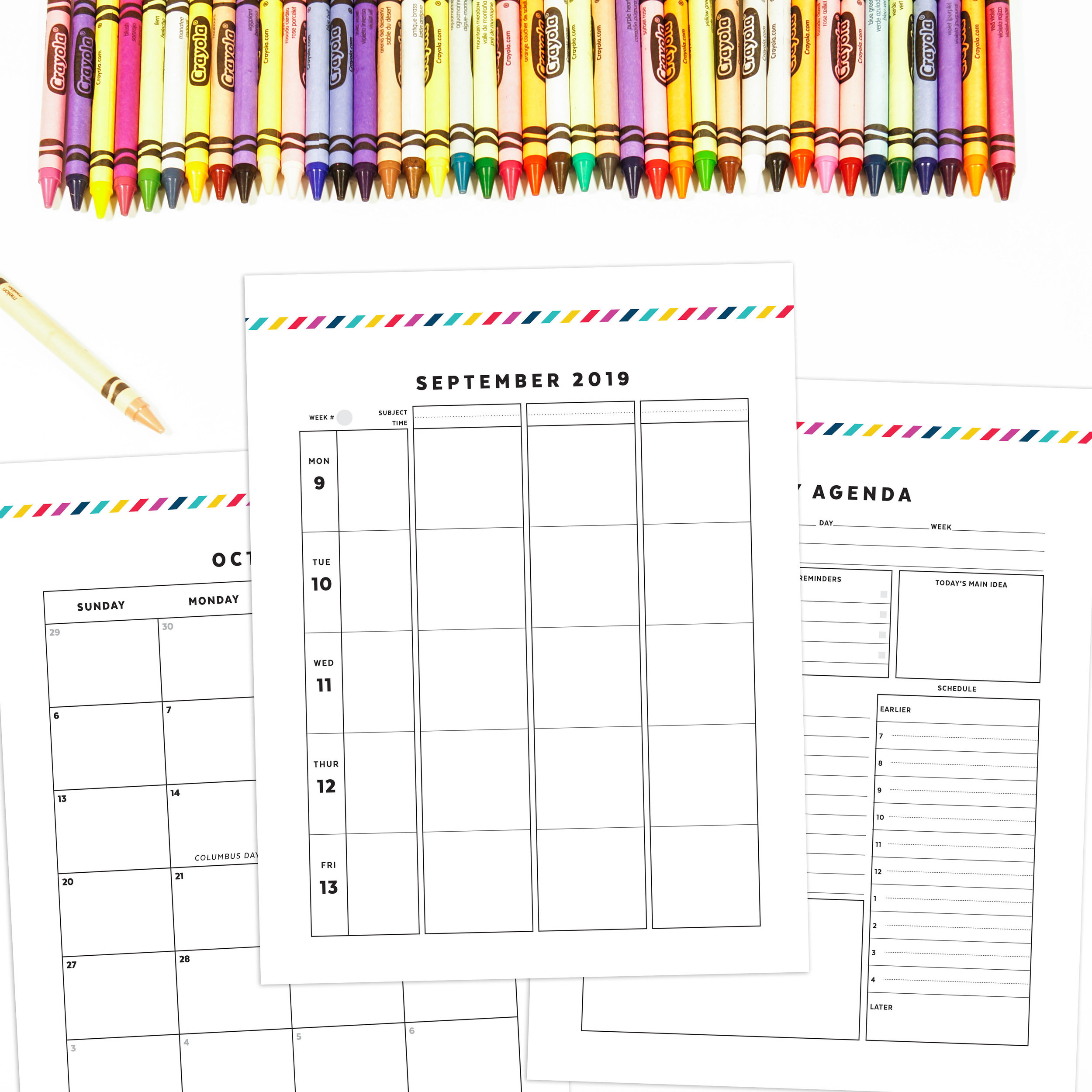 graphic regarding Printable Teacher Planner called 2019-20 Instructor Planner Horizontal Signature Stripe Confetti Saay