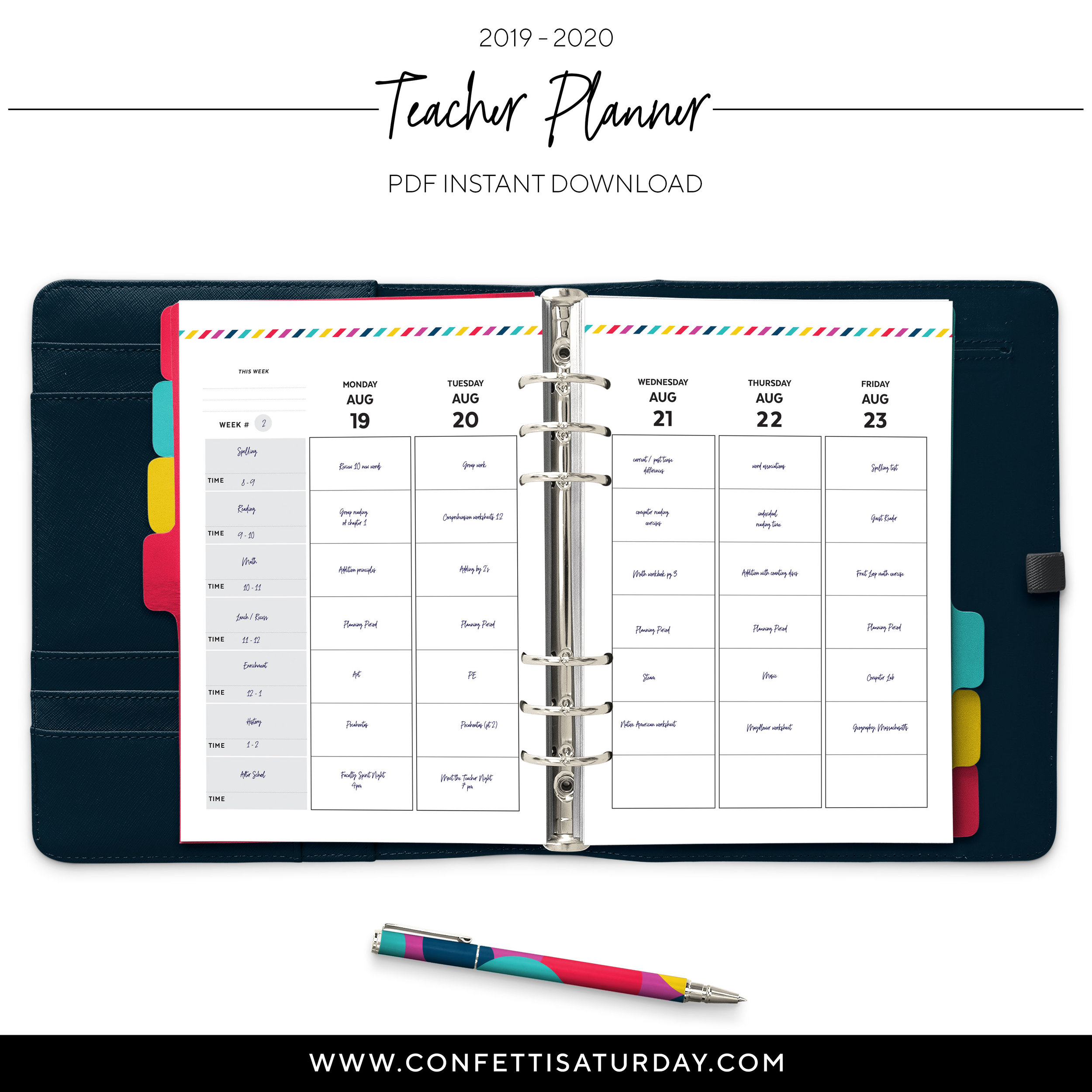 photograph relating to Printable Teacher Planner titled 2019 - 2020 Trainer Planner Vertical Signature Stripe Confetti Saay