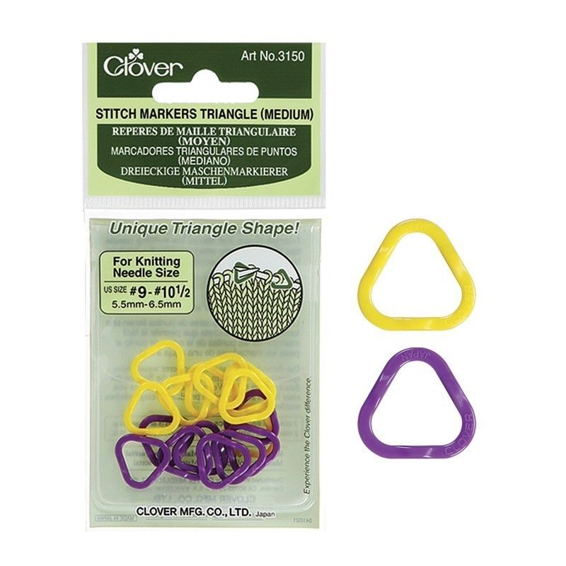 Clover Triangle Stitch Markers in 3 different sizes S to Large