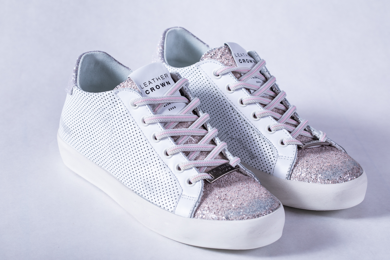 d58fbb4f6c9d Leather Crown Perforated Leather & Rose Glitter Low Top Sneaker ...