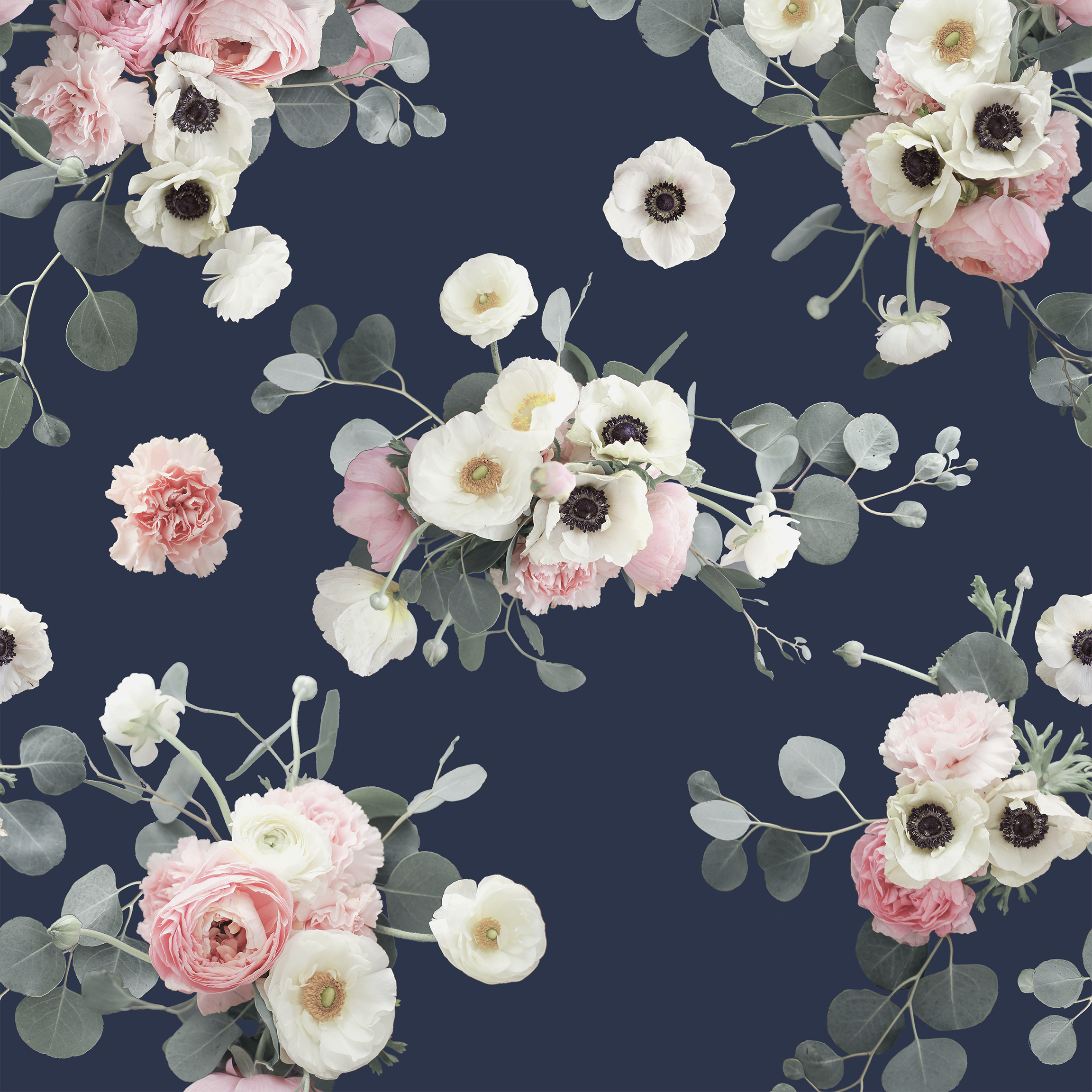 Peel-and-Stick Removable Wallpaper Midnight Floral Blue Navy Flower Garden