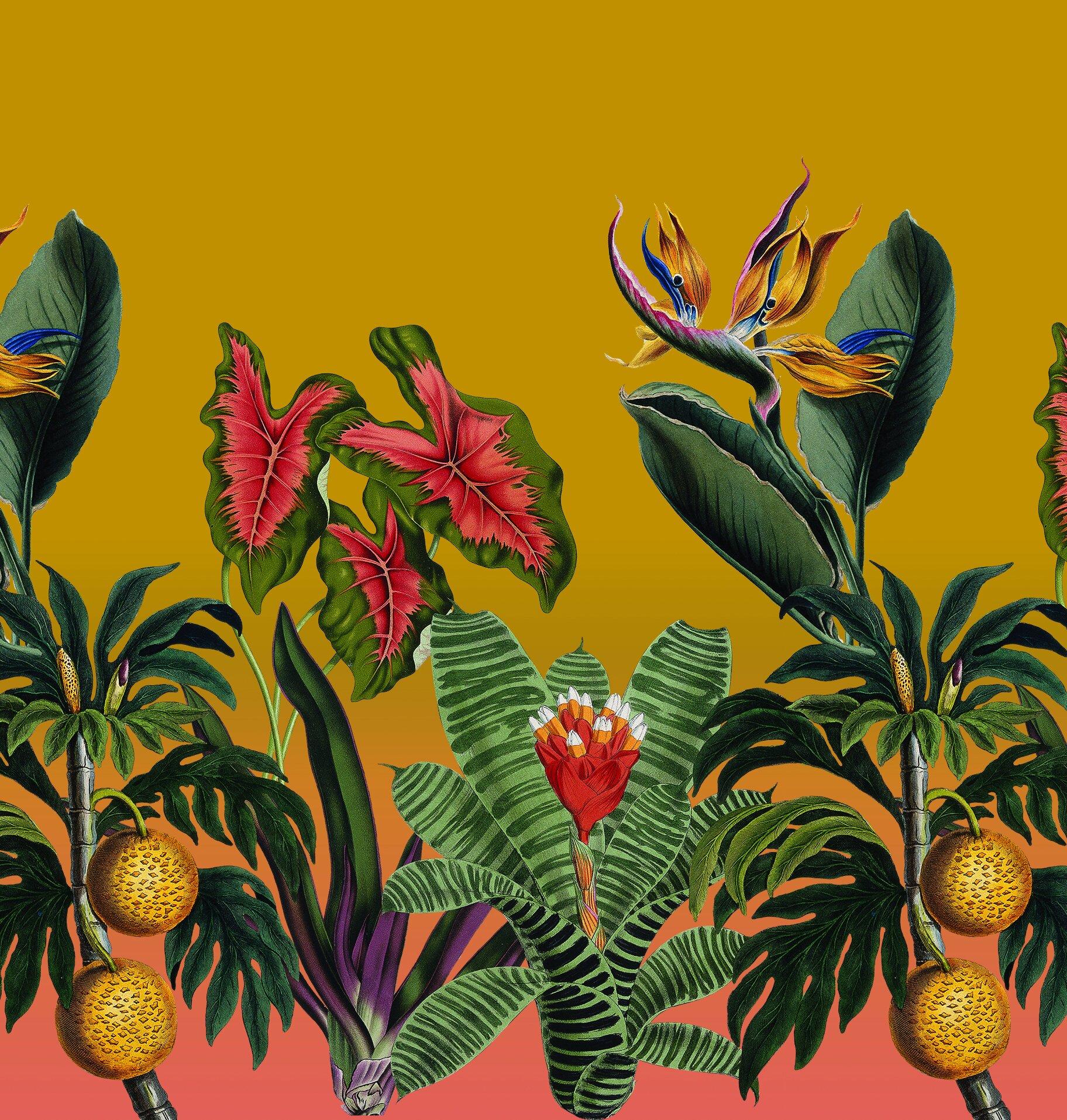 Vintage Botanical Garden Mural Removable Fabric Wallpaper Peel And Stick Samantha Santana