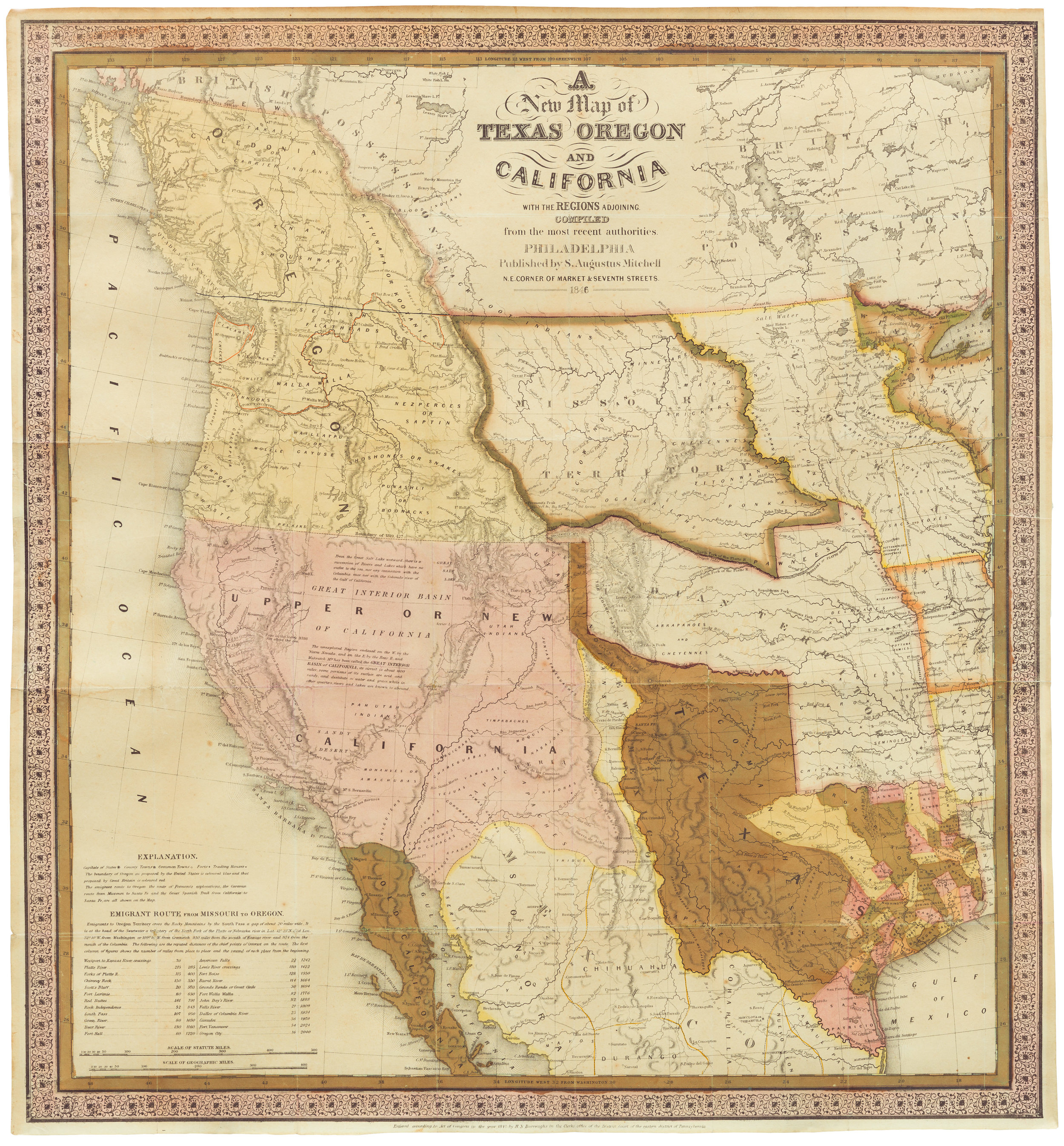 New Map Of Texas.Forget Me Not Neatline Antique Maps
