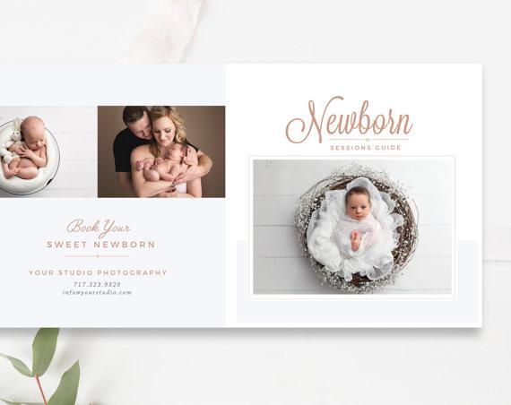 Newborn Pricing Template 5x5 Accordion Trifold — By Stephanie Design