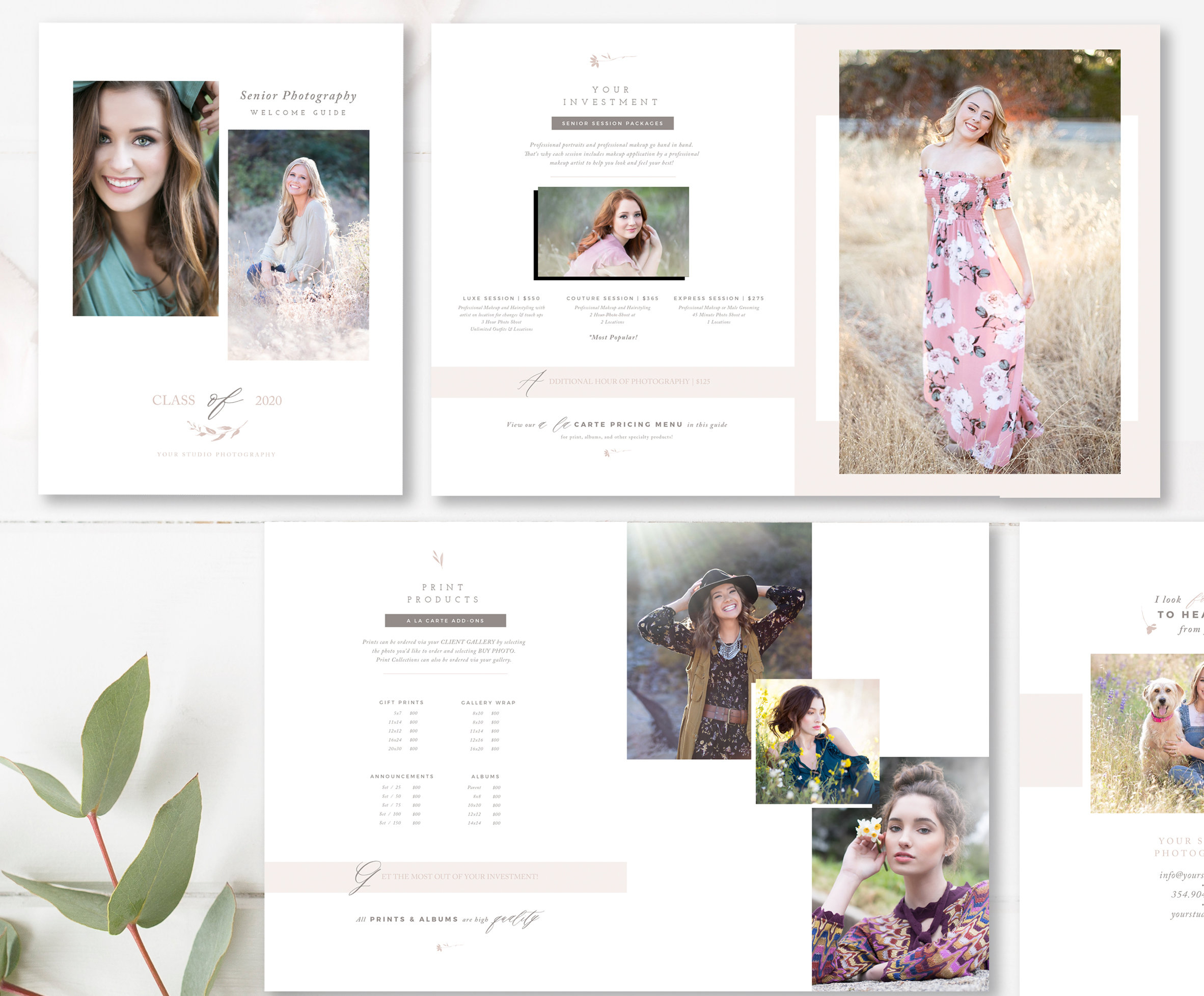 12-Page Senior Photographer Welcome Guide, Photoshop Templates for  Photographers — By Stephanie Design
