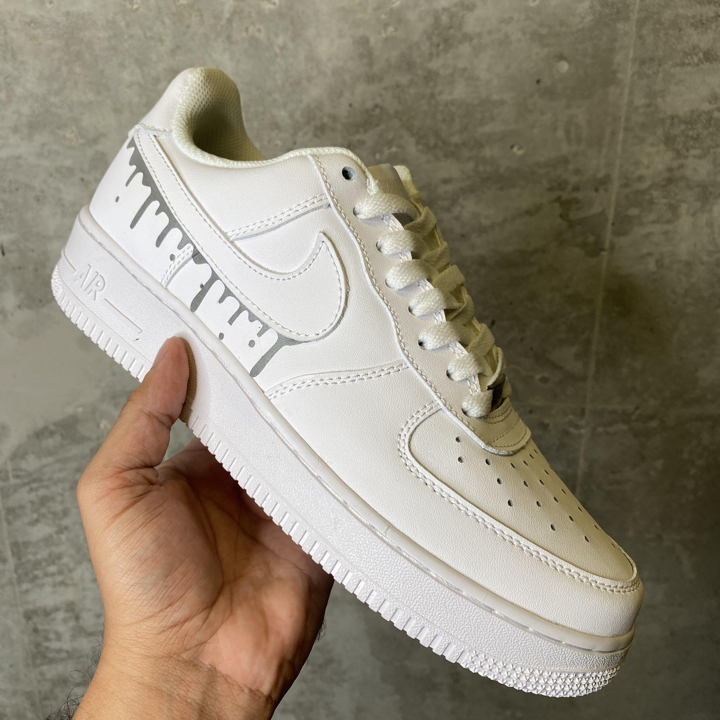 nike air force 1 white custom drip