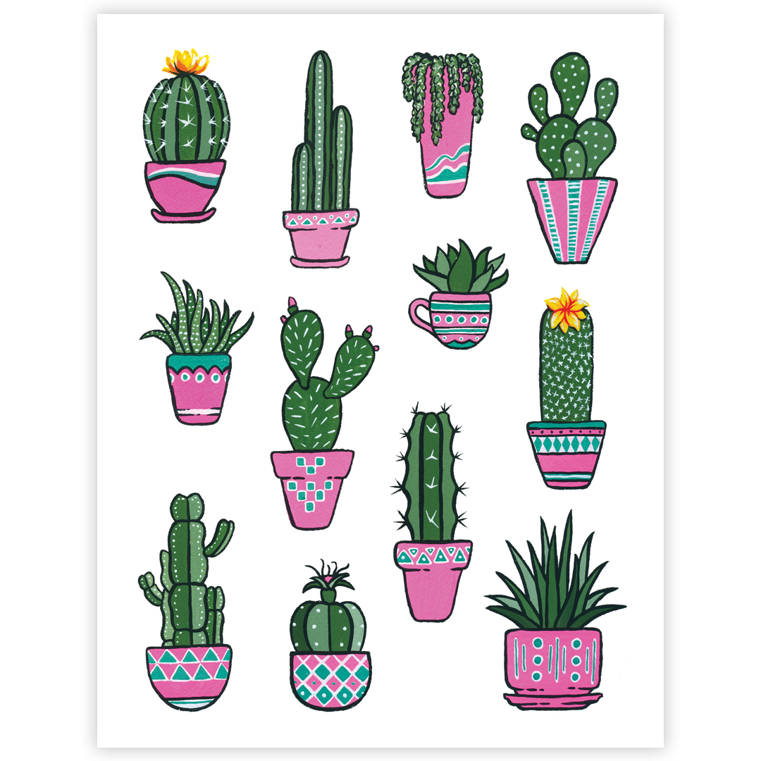All The Potted Cacti Plants Signed Art Print Boelter Design Co