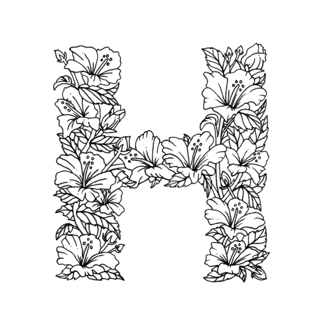 - 26 Alphabet Coloring Pages (Illustrated With Flowers) Digital