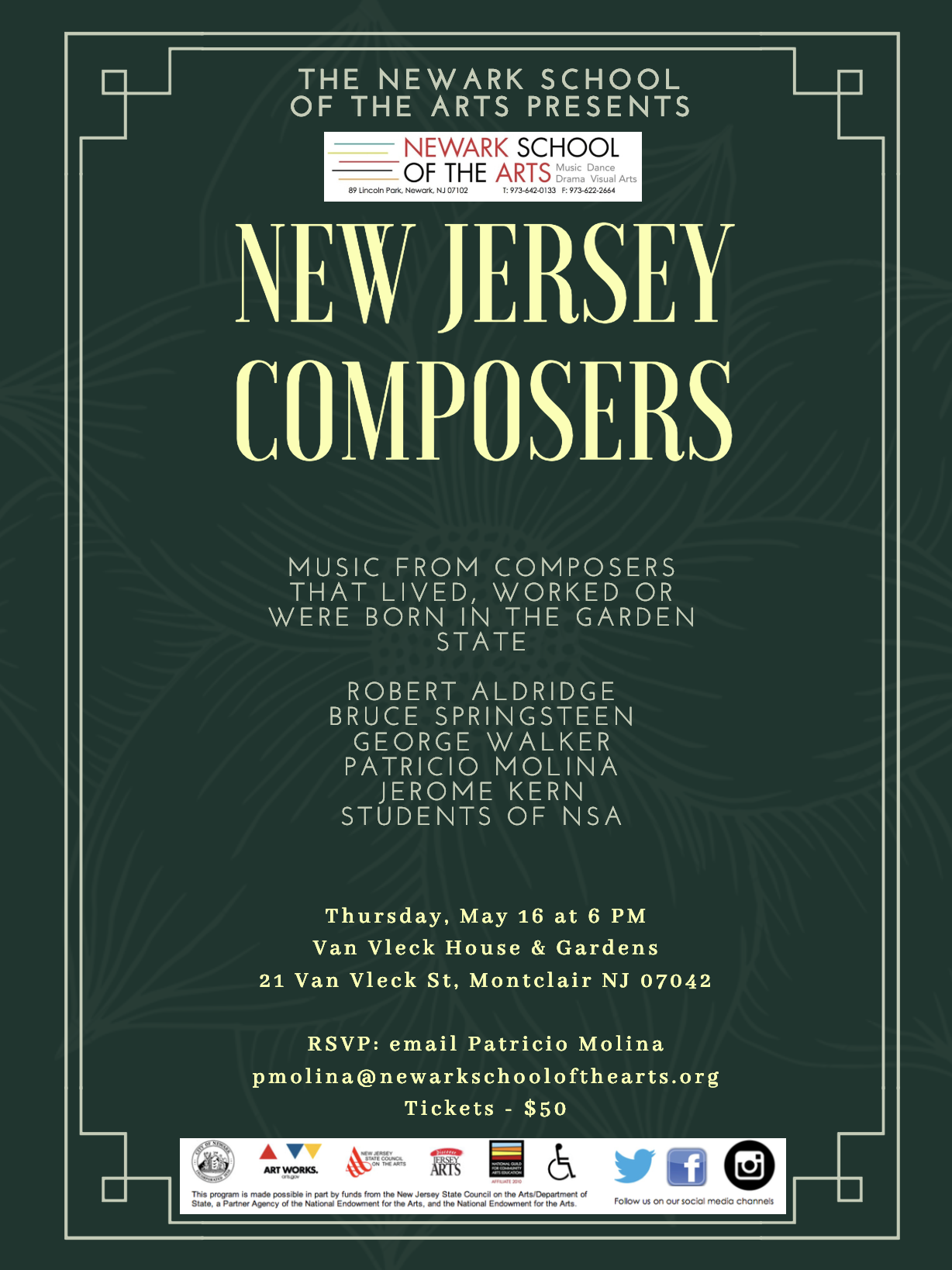NJ Composers Concert Ticket — Newark School of the Arts