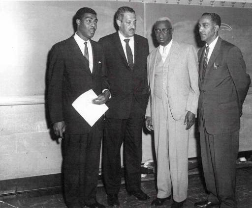 Pictured, left to right, Kelly Miller Smith Sr., Thurgood Marshall, Z. Alexzander Looby and A.Z. Kelley. Credit: NPL archives