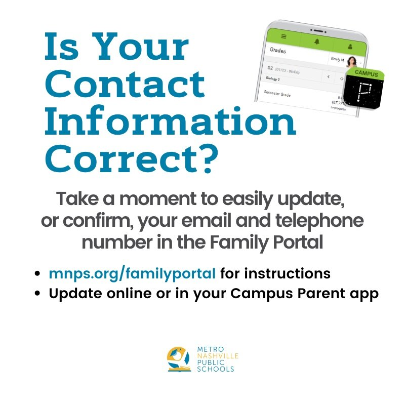 Confirm, or update, your email and telephone number in the Infinite Campus Family Portal. Getting it right means the district and your school can easily and quickly communicate with you about important Back to School information.