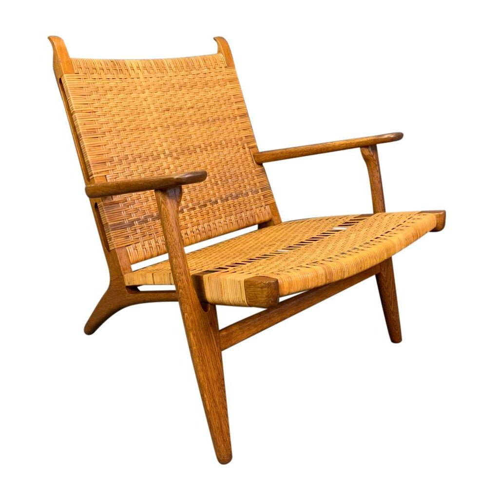 Vintage Danish Mid Century Modern Ch27 Chair In Oak And Cane By