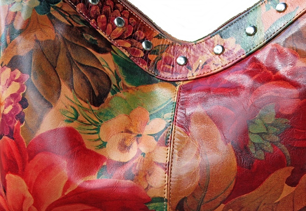 100/% Argentinian Floral Leather Studded Extra Large Shoulder Bag