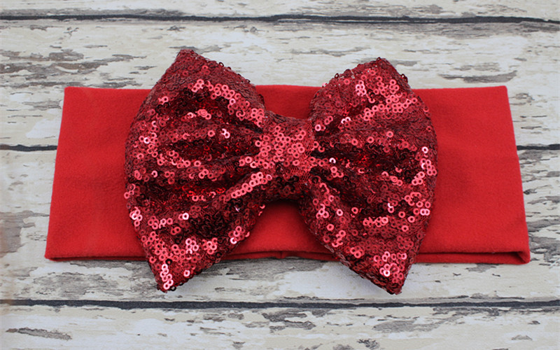Large Red Sequin Bow Headband