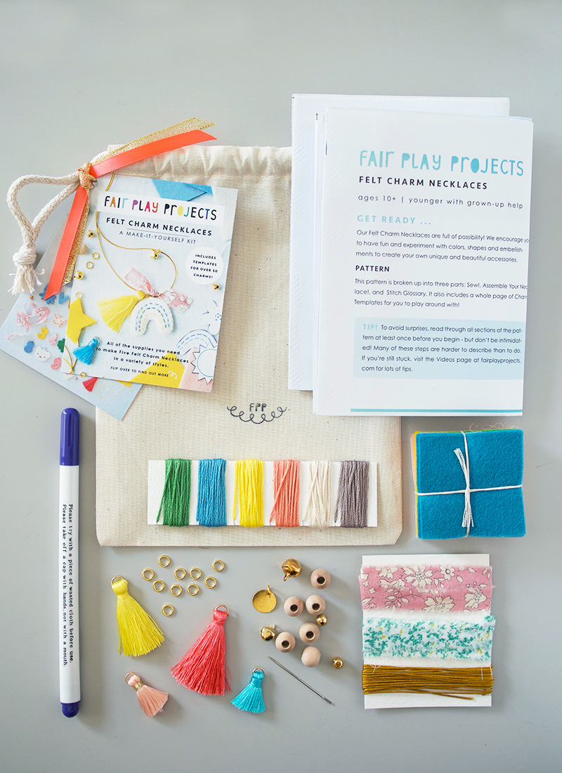 FELT CHARM NECKLACE KIT (materials to make 5 charm necklaces) — Fair Play  Projects