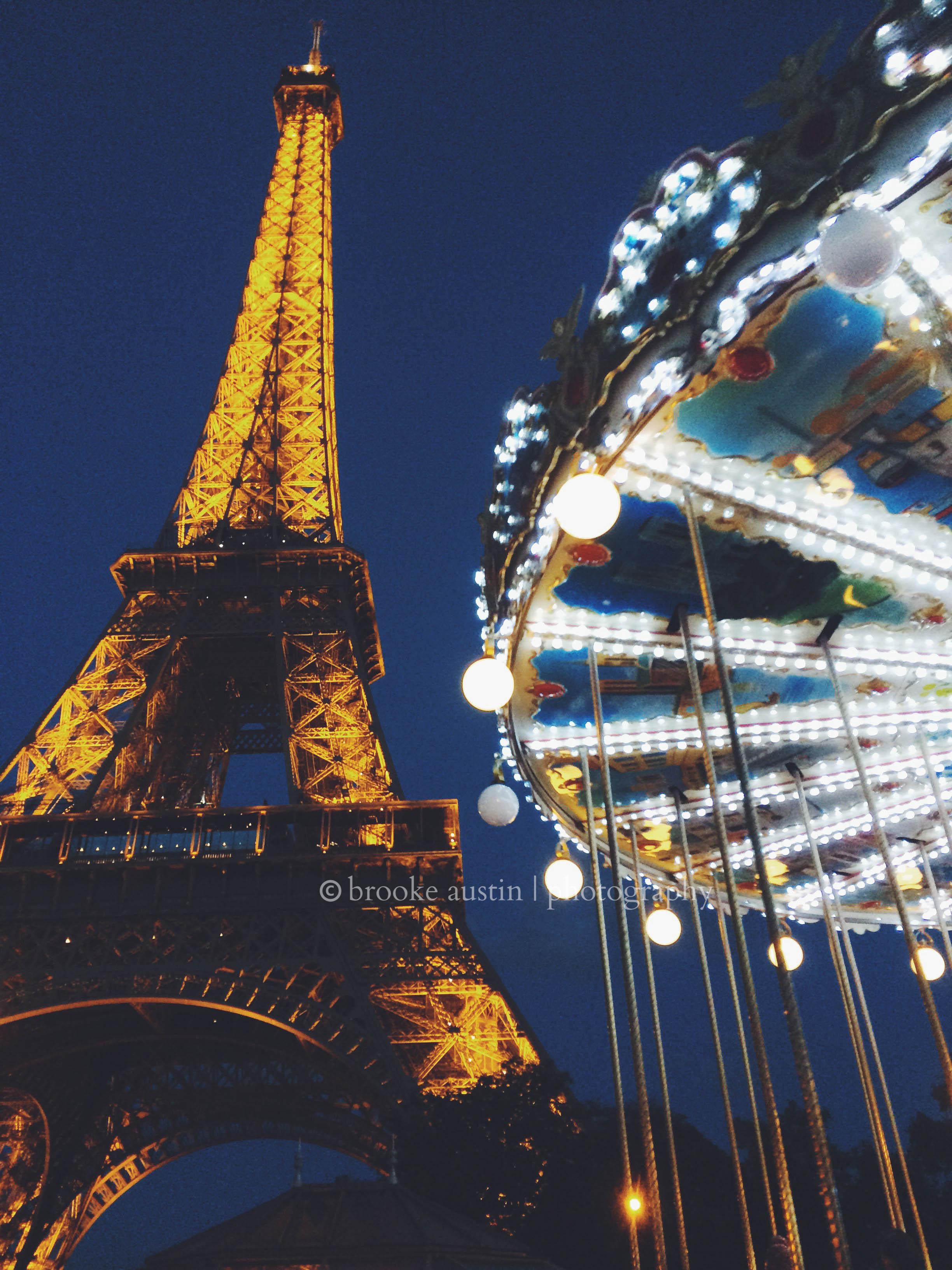Eiffel Tower In Paris Nighttime With Carousel Digital Download File Brooke Austin Photo