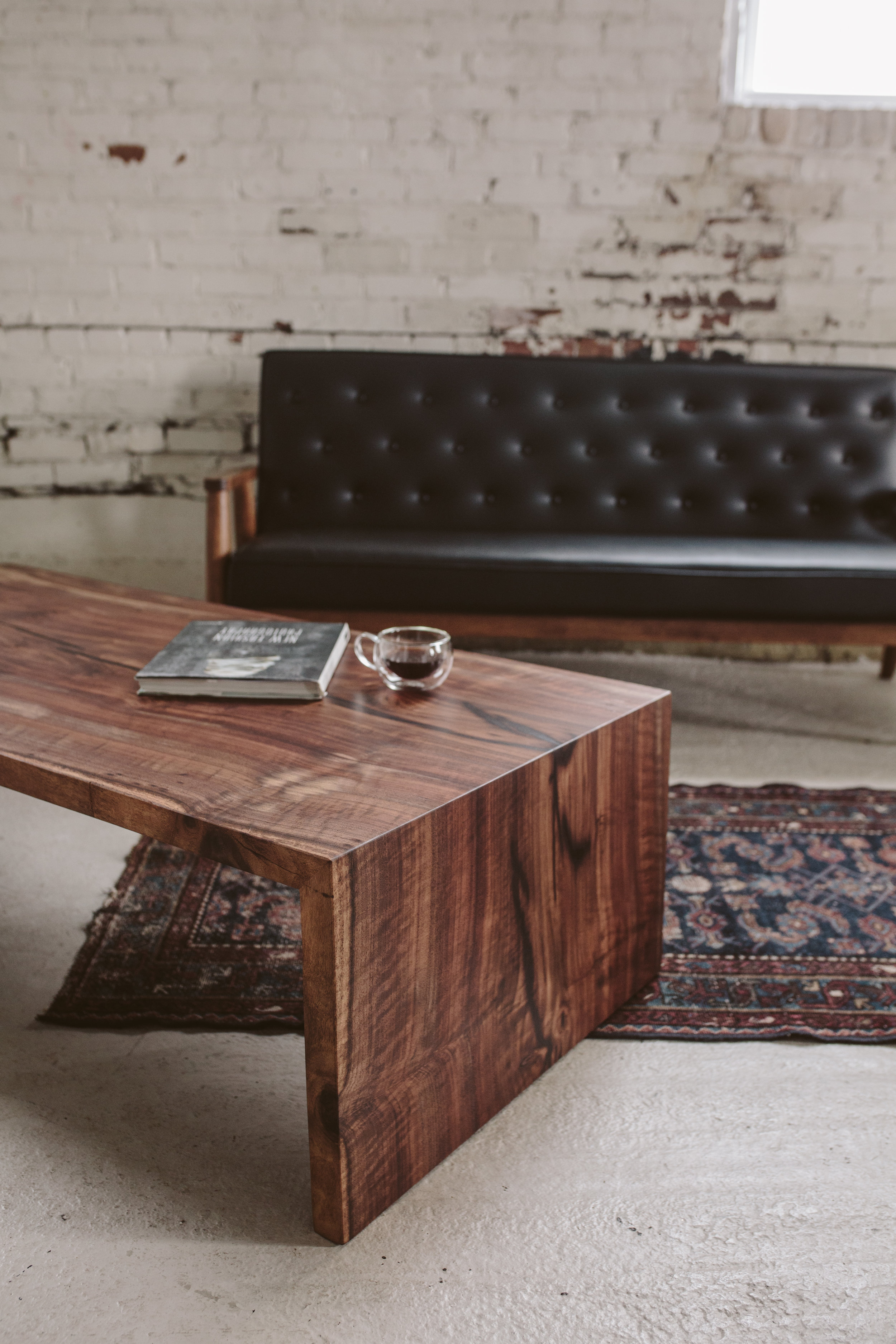 Waterfall Coffee Table Claro Walnut Midcentury Modern Furniture Stockton Heritage