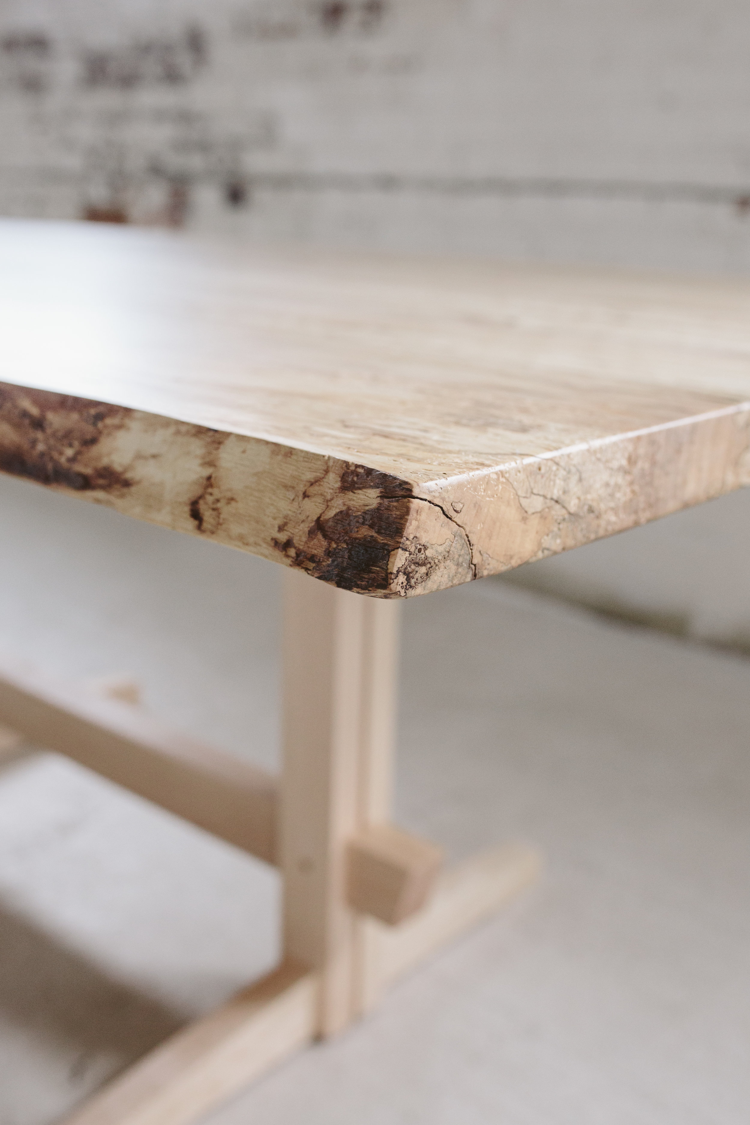 Live Edge Dining Table Spalted Maple Stockton Heritage