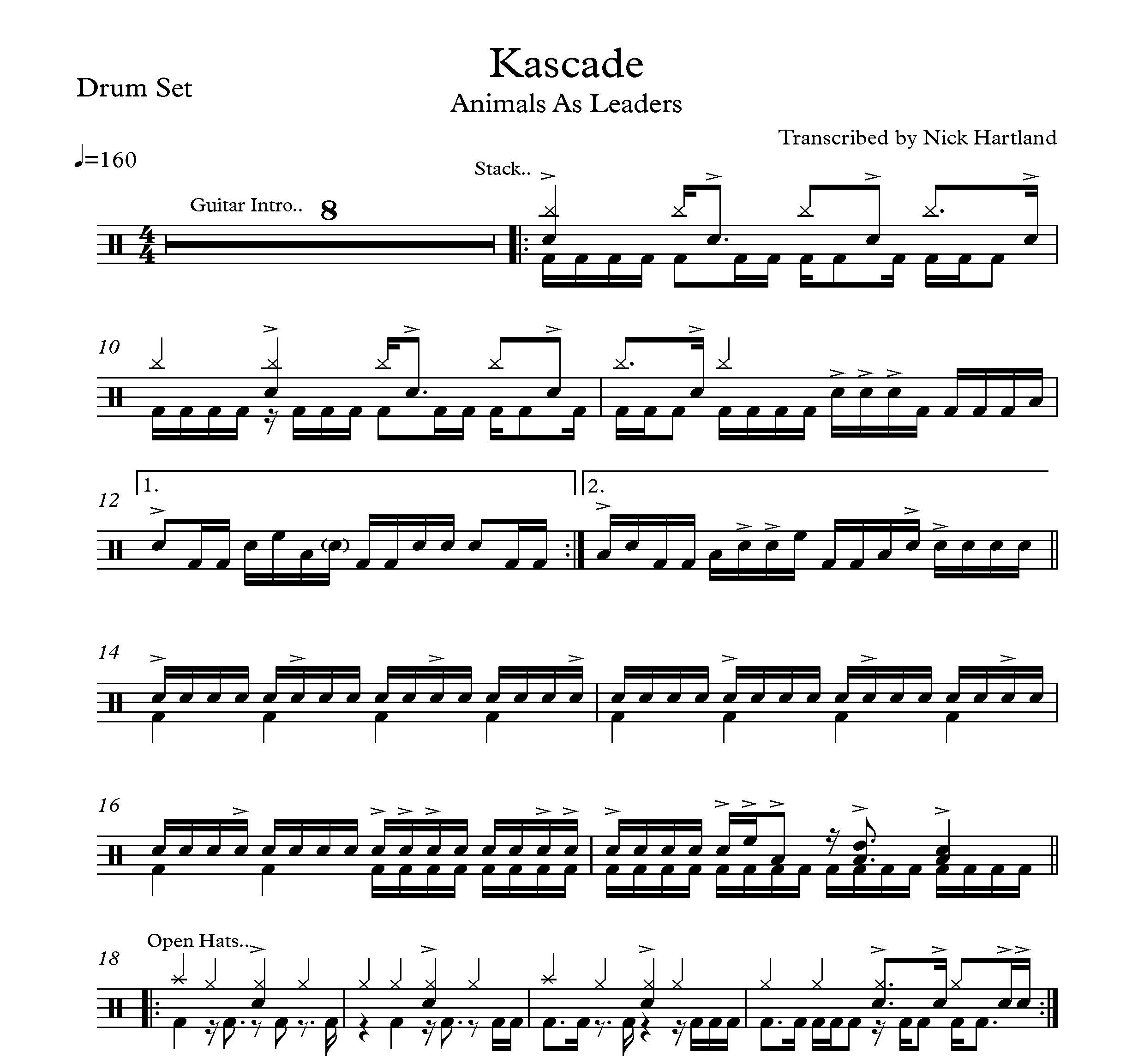 Kascade - Animals as Leaders (Drum Transcription)