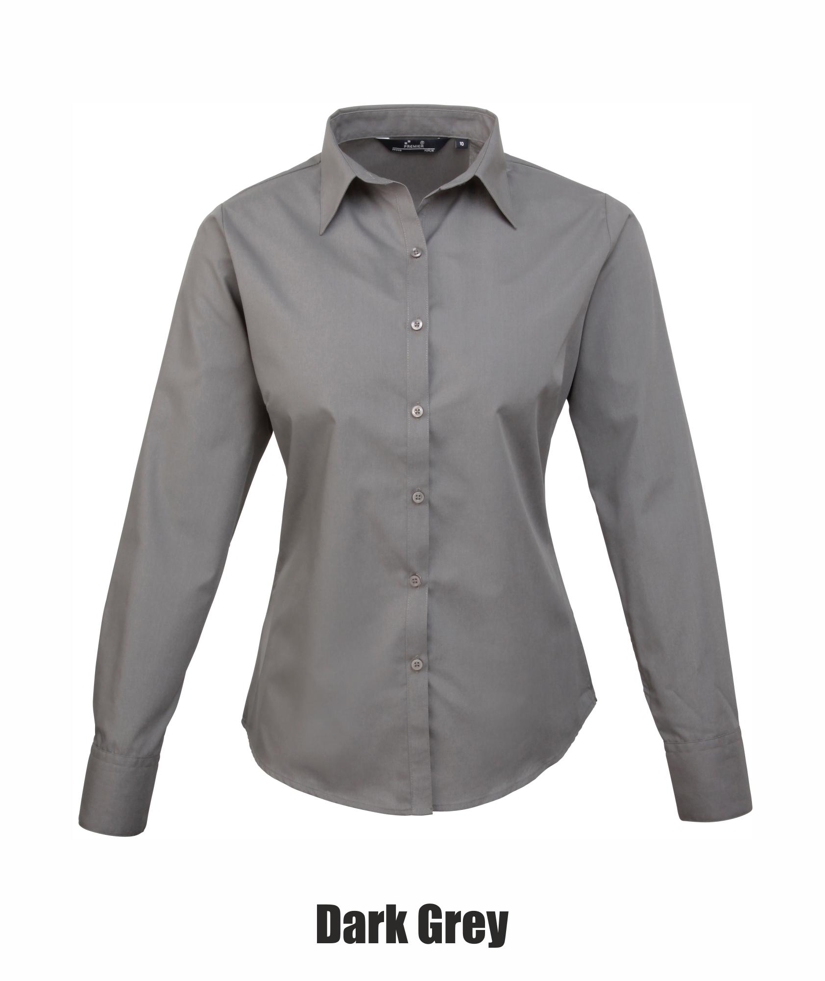 Ladies Plain Work Shirt-Lilac-Size 8 Womens poplin long sleeve blouse
