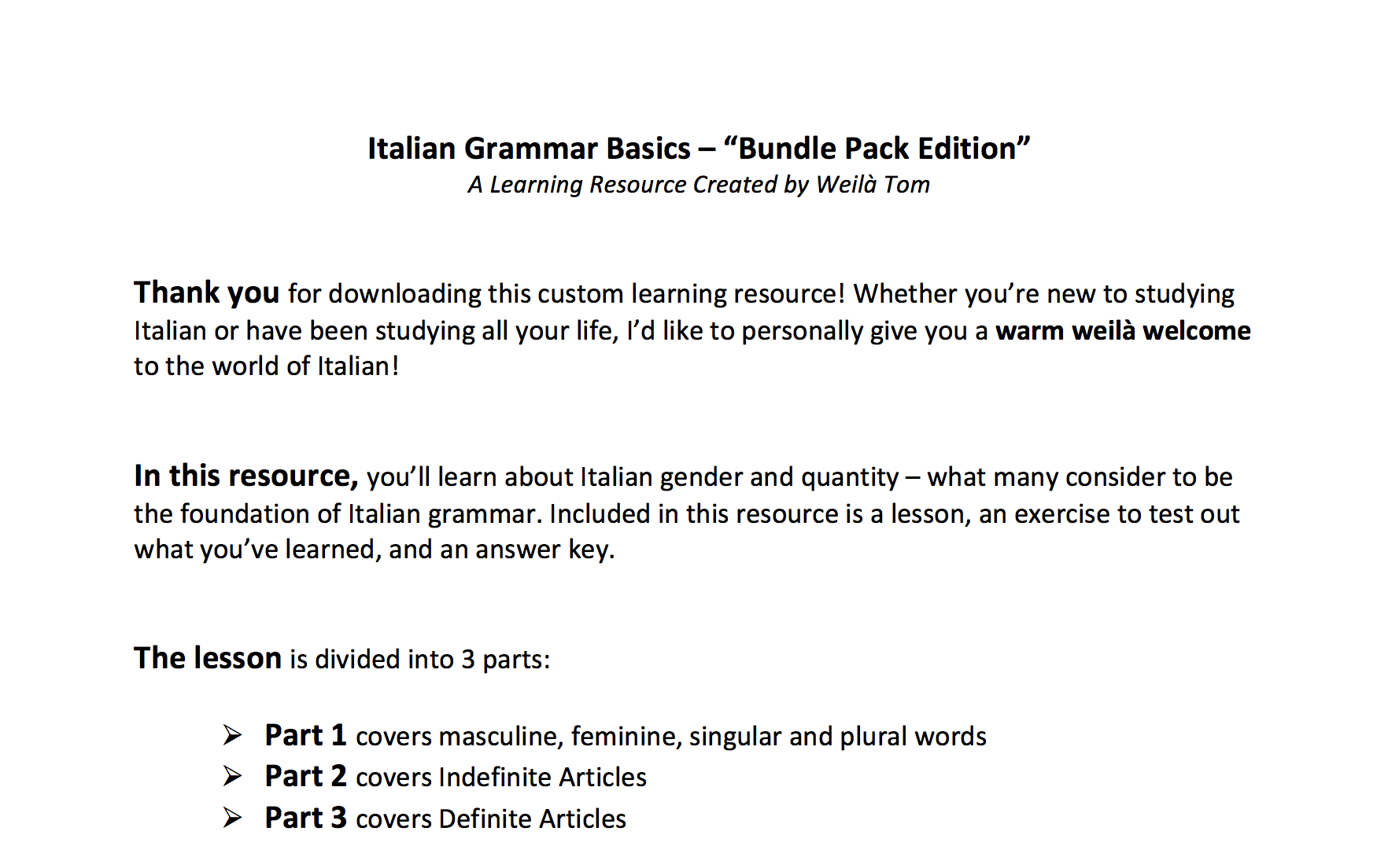 Italian Grammar Basics -