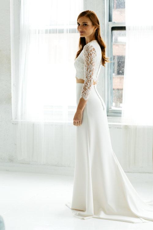Cara Top Sophia Crepe Skirt Unique Boho Vintage Designer Wedding Dresses Bridal Accessories Bridal Boutique Singapore