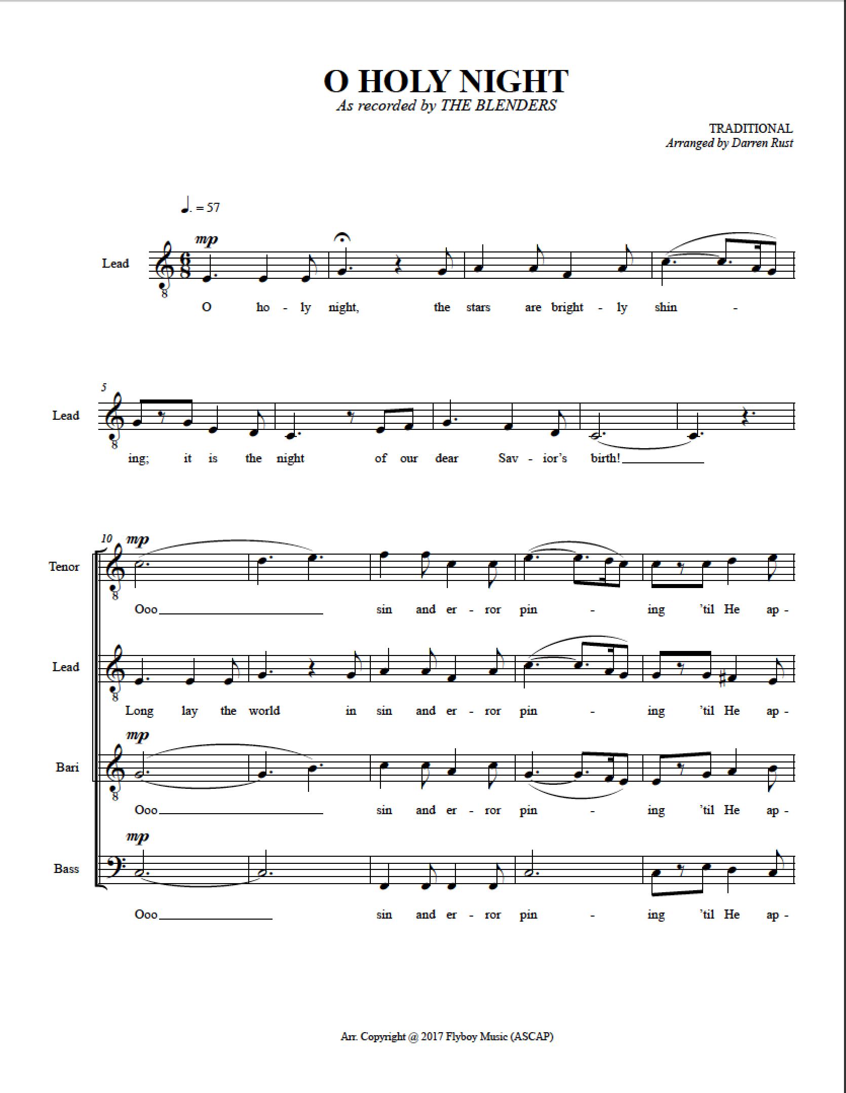 O Holy Night Sheet Music Satb Skyland Studio