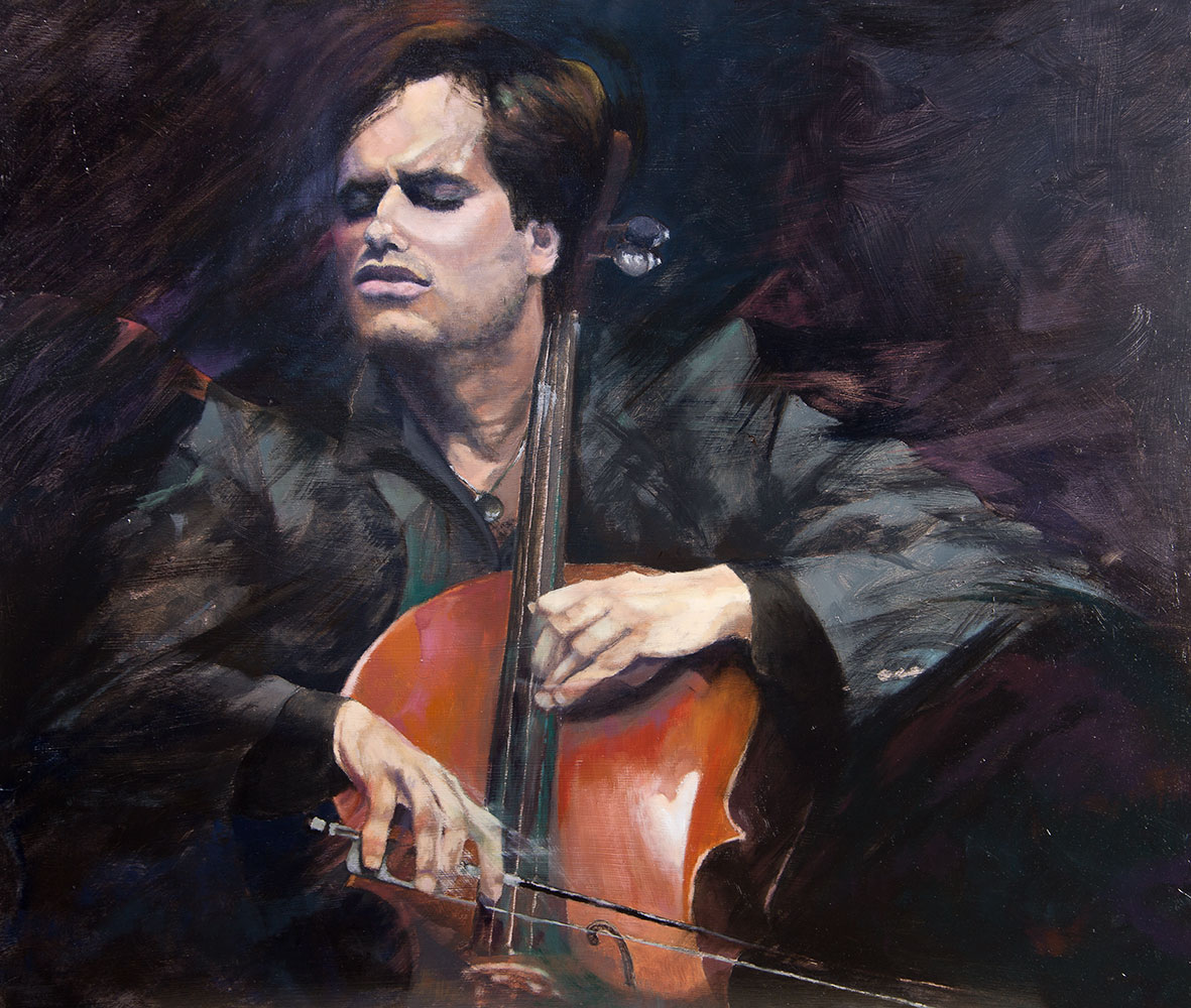 Stjepan Hauser - PLaying Gabriel's Oboe, with Luka Oil | Penny Wheatley  Artist | Big Cats - Classical & Pop Portraits - Horses | Paintings -  Drawings