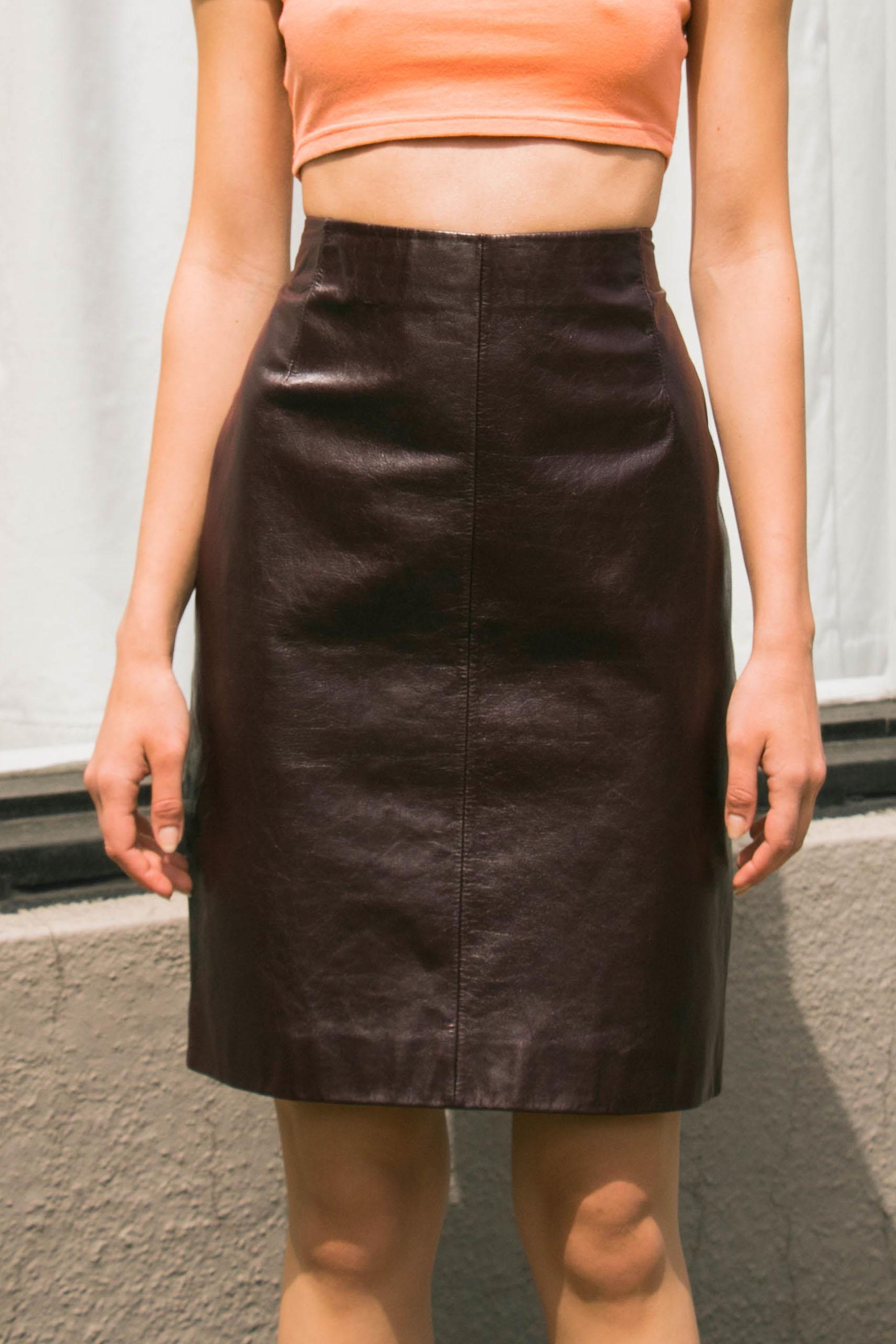 Vintage Wine Leather Paneled Skirt (S) — I Am That