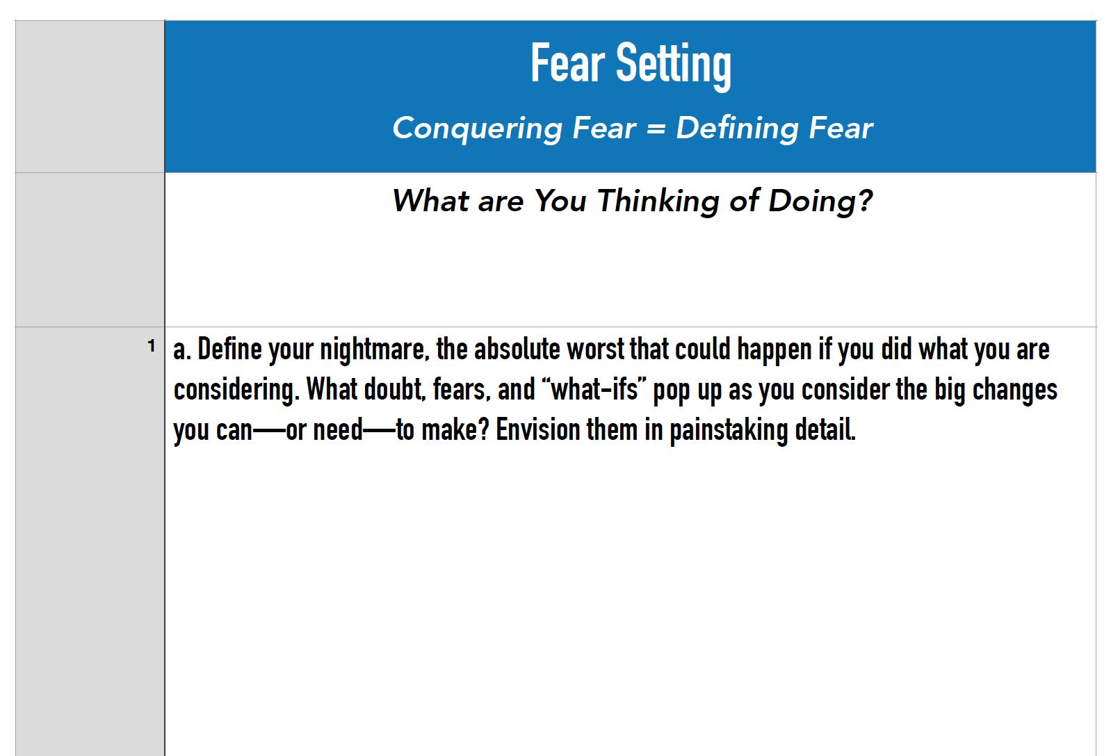 Tim Ferriss - Fear Setting Work Sheets — Home