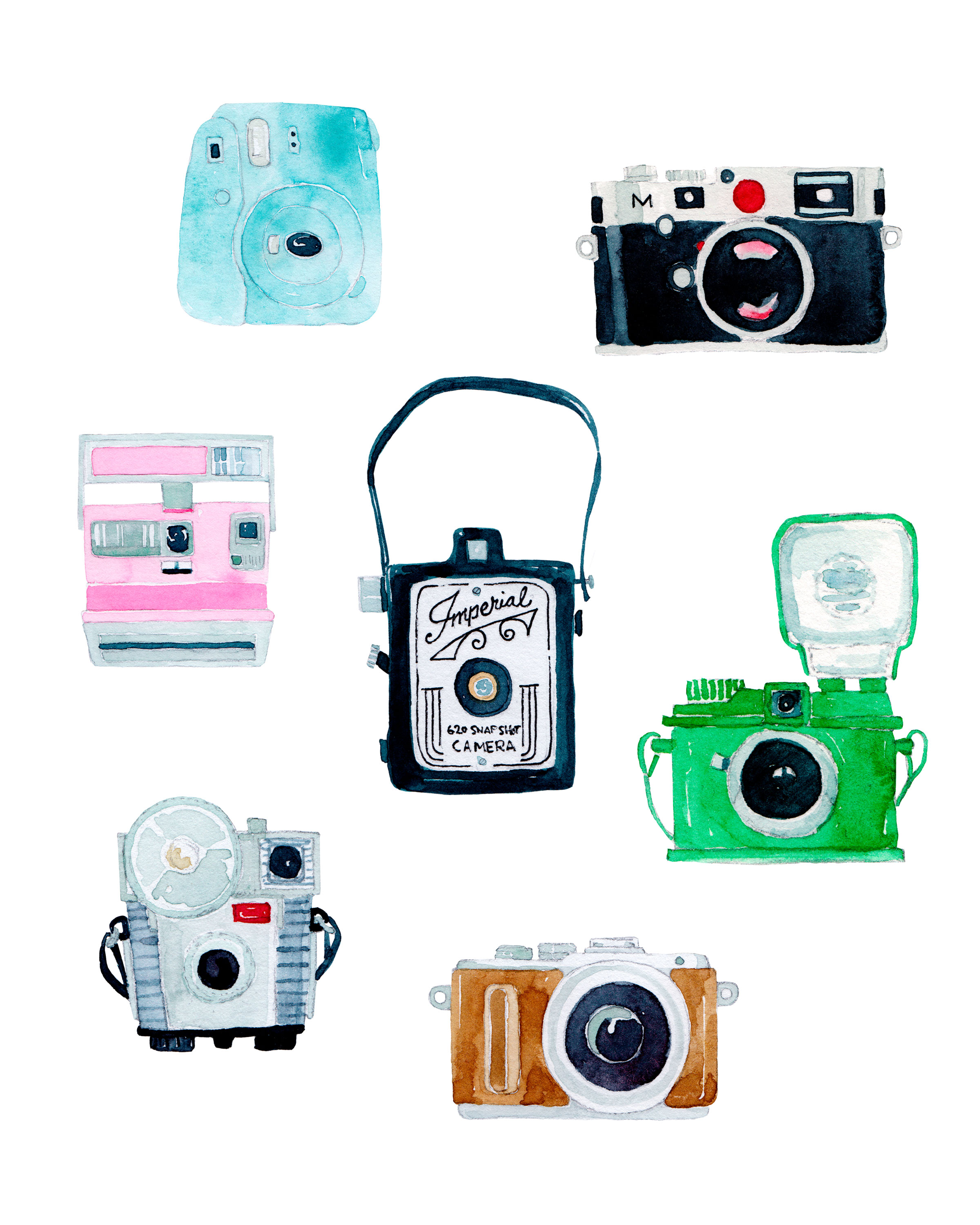 image relating to Printable Camera known as PRINTABLE Watercolor Cameras Portray - Numerous Dimensions Heather Tycksen
