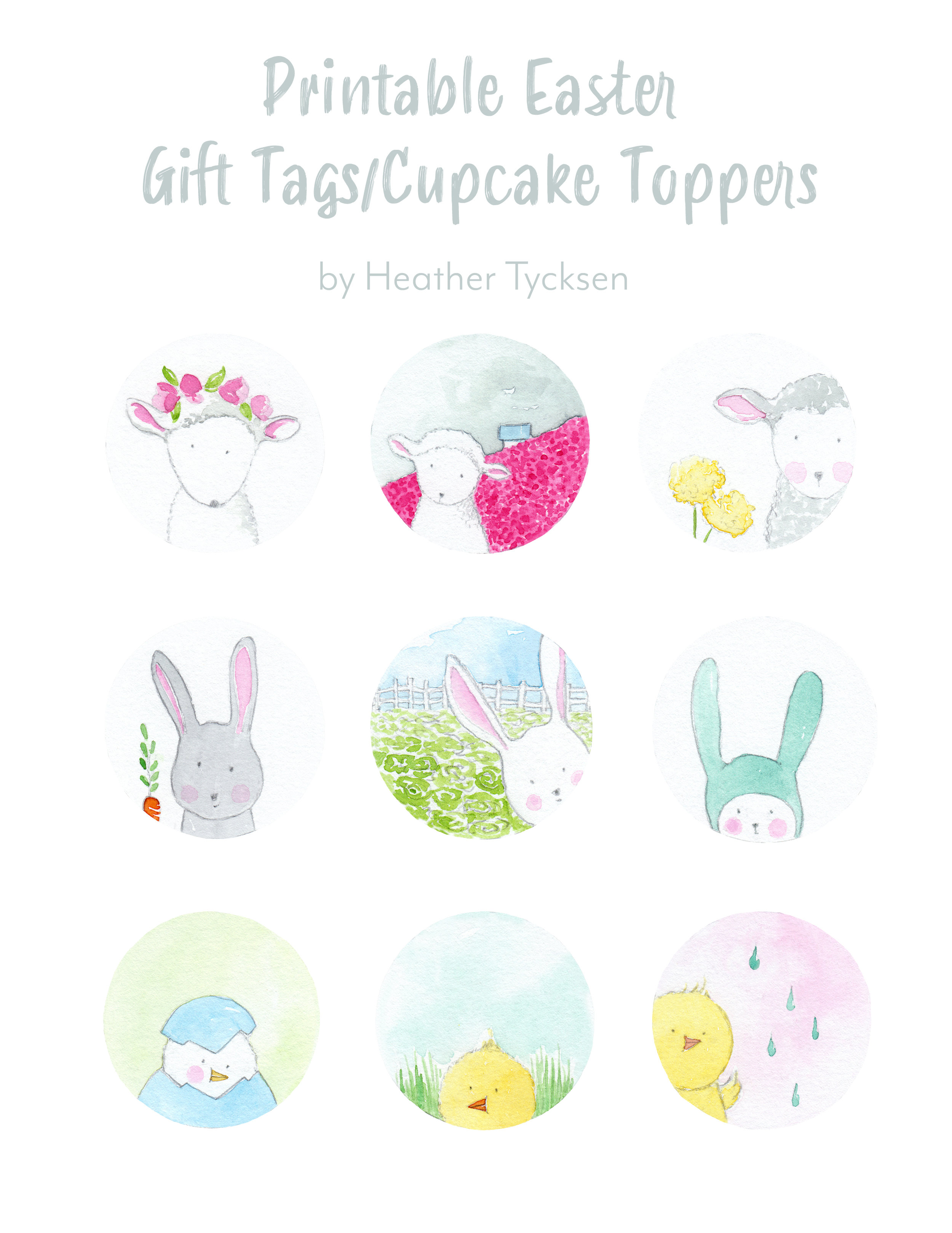 picture relating to Printable Easter Gift Tags identified as PRINTABLE Easter Reward Tags/Cupcake Toppers Heather Tycksen