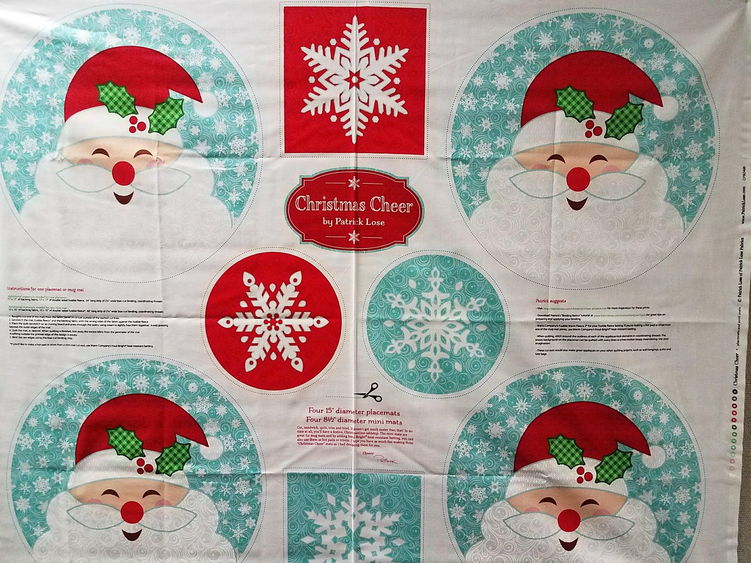 Christmas Cheer Place Mats by Patrick Lose-4 Place Mats /& 4 Mini Mats-Santa