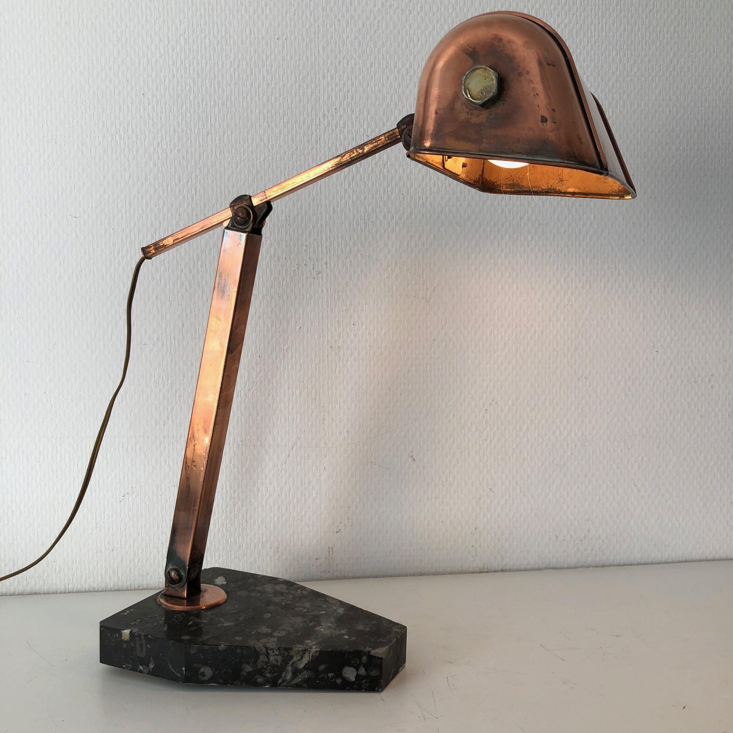 Fare Marbre 1930 Laiton Tk1c3uj5lf Cuivre Lampe Vintage TlFc1JK