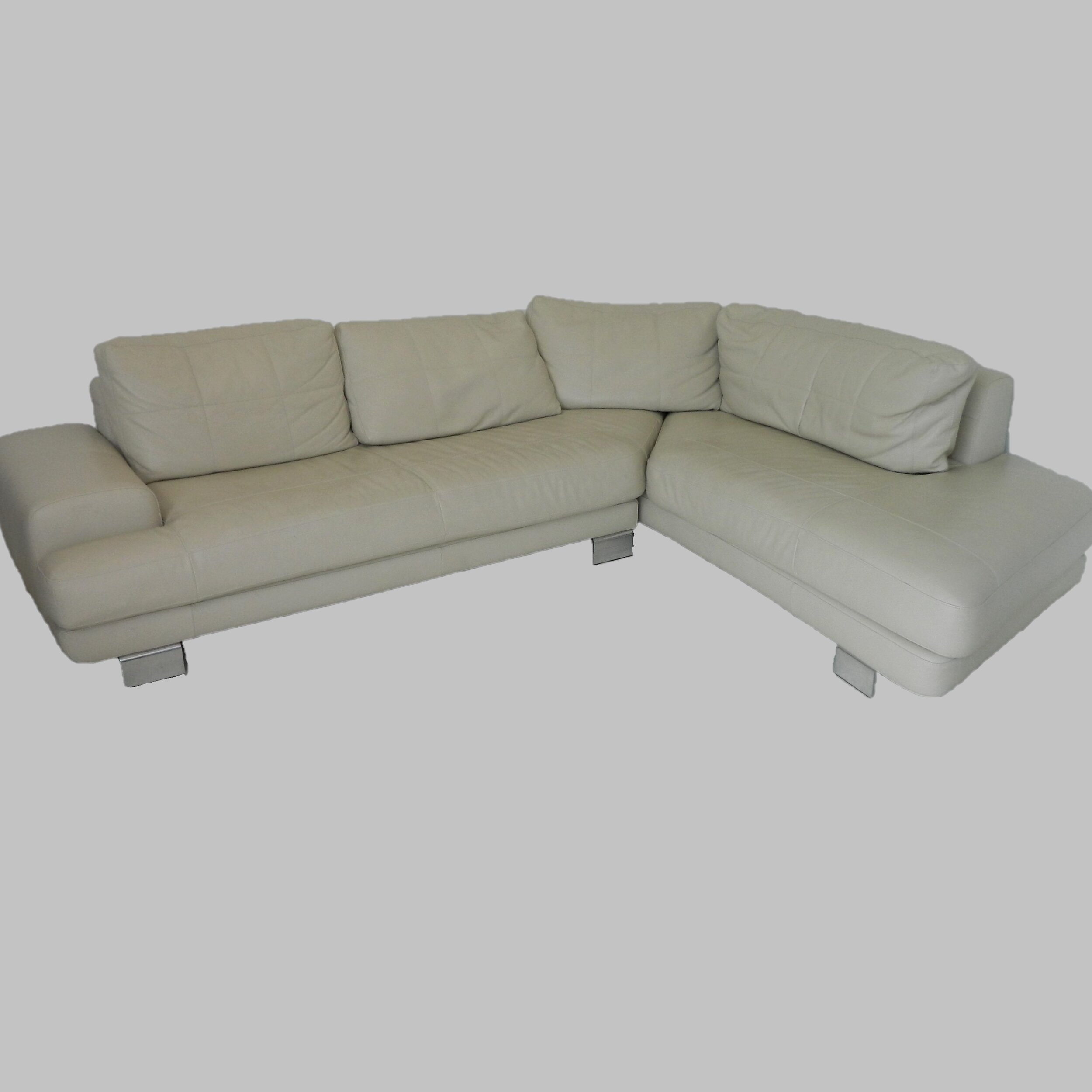 Cantoni 2 Piece Cream Leather Sectional