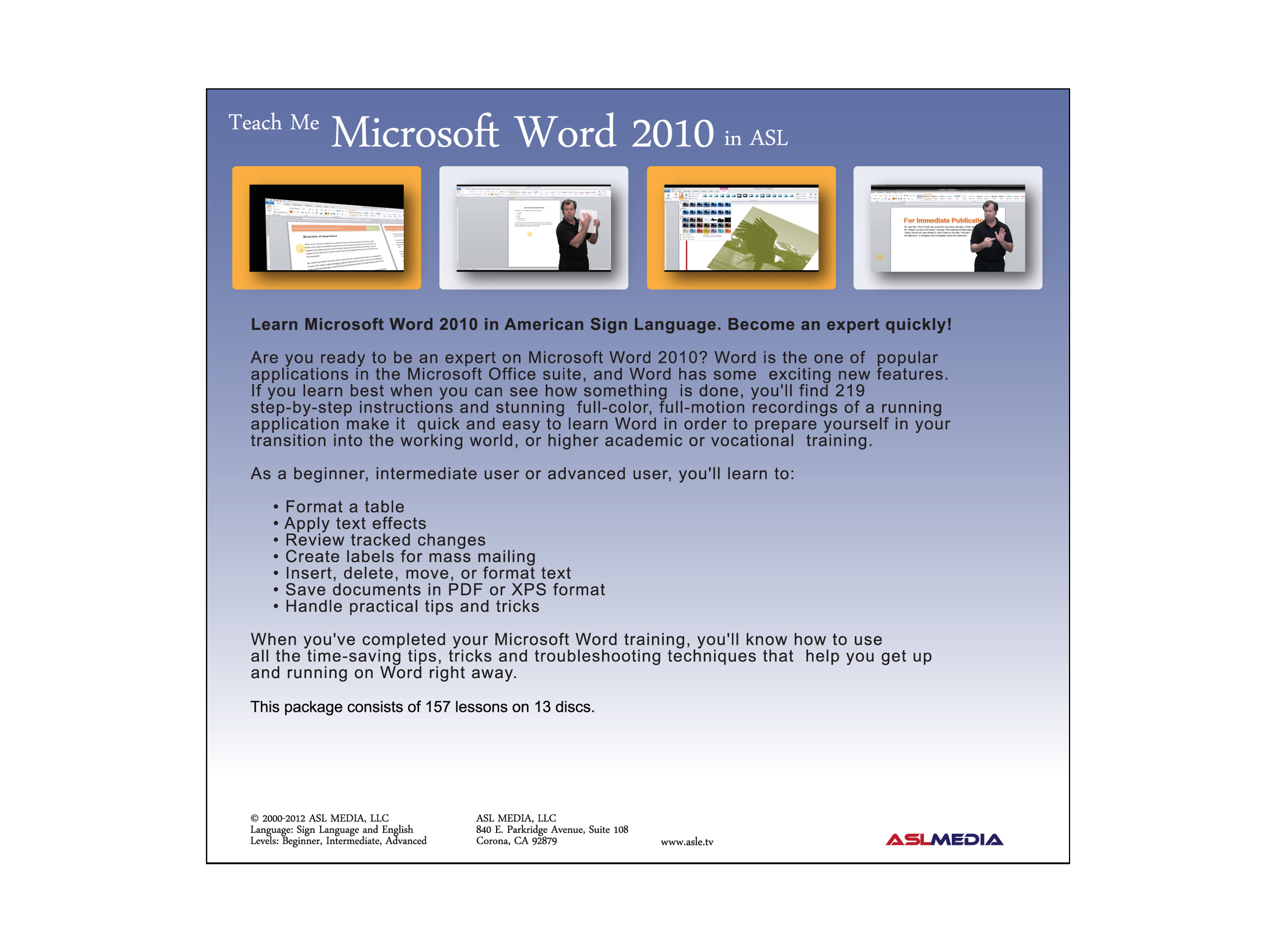 Teach Me Microsoft Word 2010 in ASL - CLASSROOM DVD — ASL MEDIA