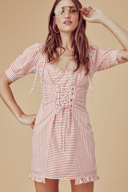 For Love Lemons Selma Lace Up Mini Dress Imwim