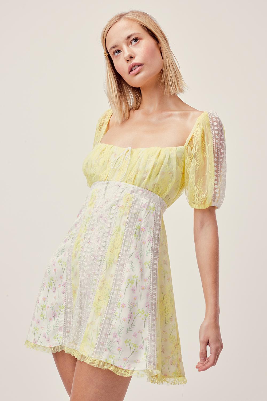 For Love Lemons Limoncella Lace Floral Mini Dress Imwim