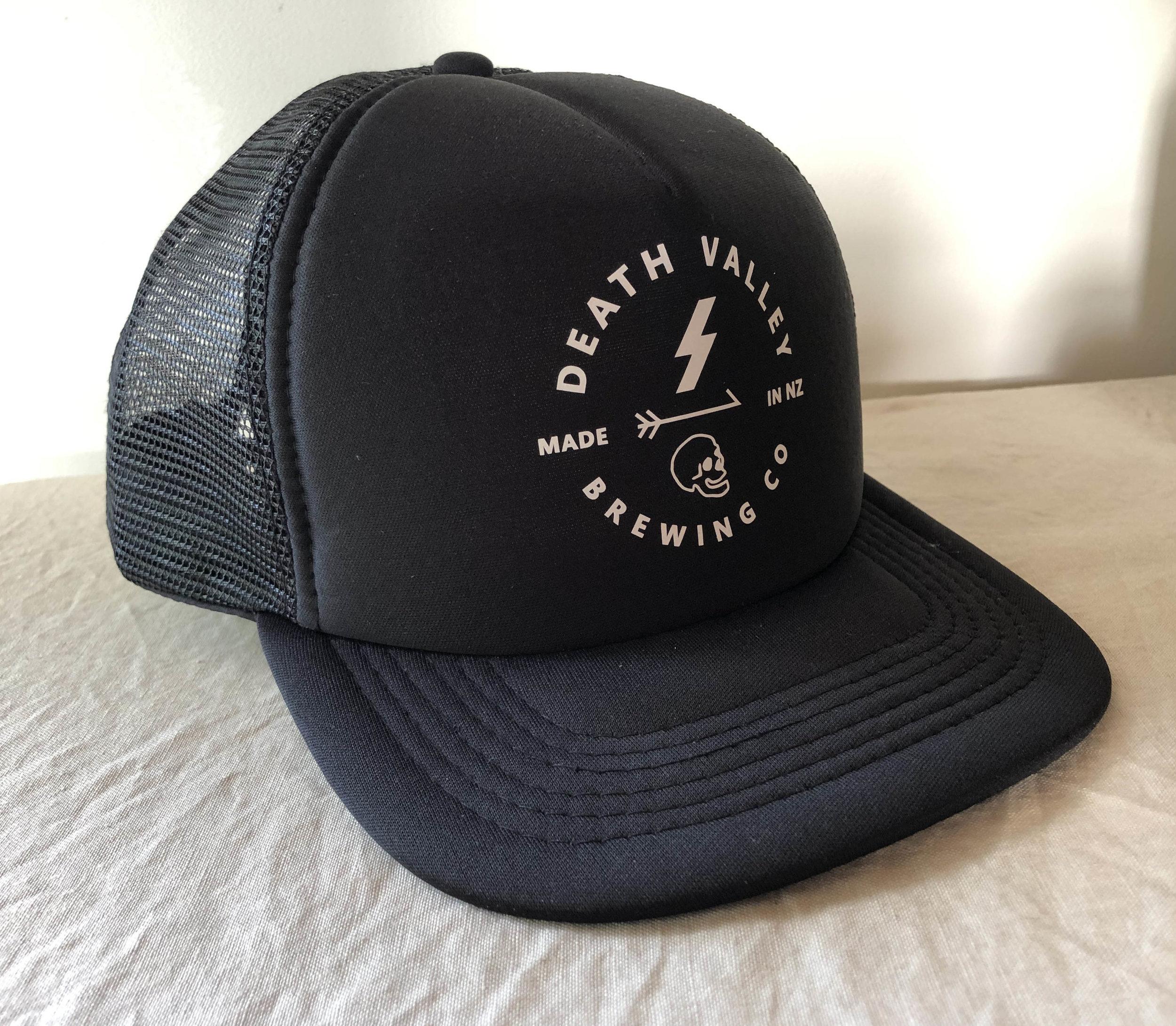f861a3d94 Death Valley Trucker Cap [Black - Round] — Death Valley Brewing Co