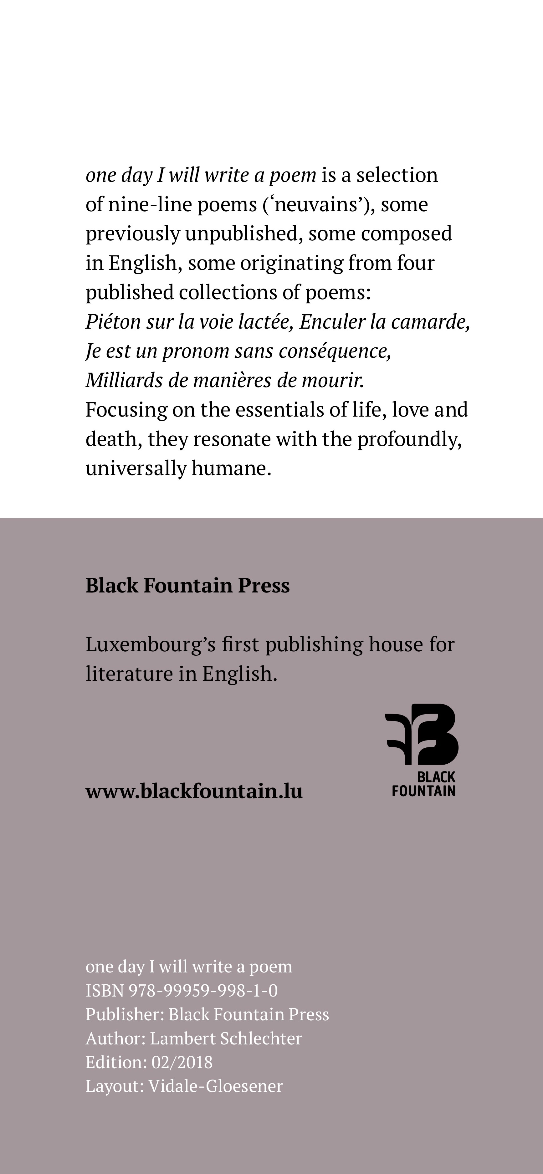 One Day I Will Write A Poem Black Fountain Press