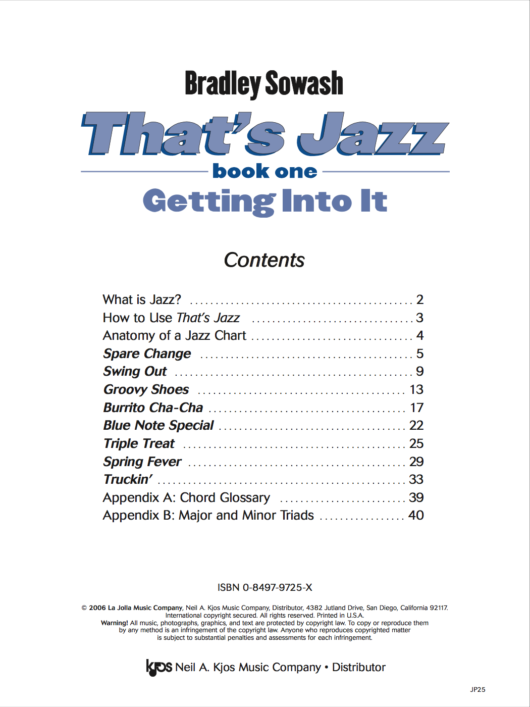That's Jazz Method 1 - Getting Into It - hard copy — Bradley Sowash Music