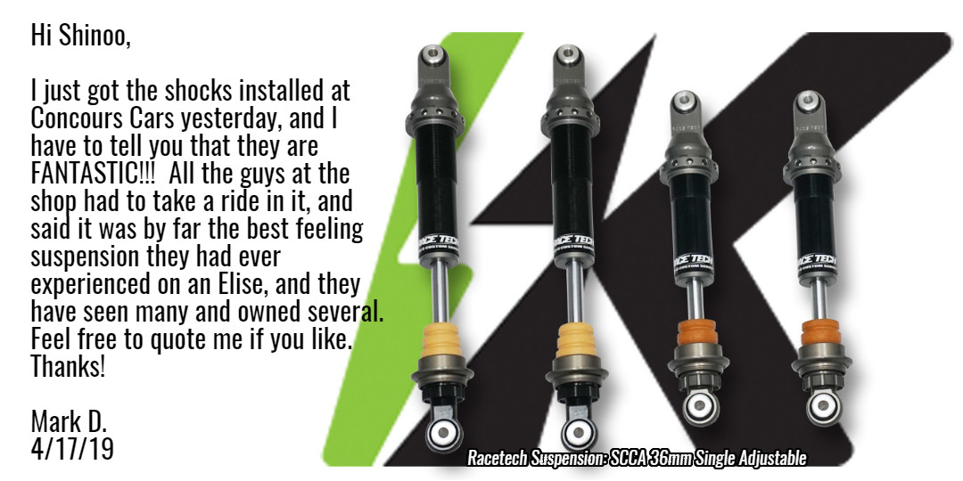 Racetech Suspension: SCCA 36mm Single Adjustable — InoKinetic