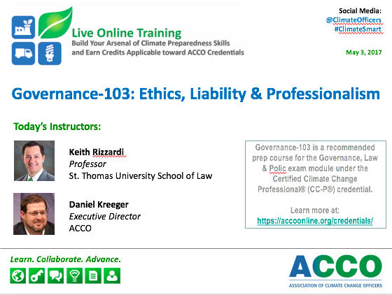 Governance-103: Ethics, Liability & Professionalism — Association of  Climate Change Officers